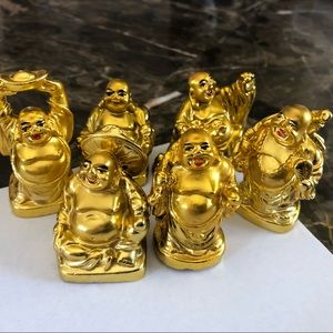 "Set of 6 Feng Shui 2"" Gold Happy Laughing Buddha"